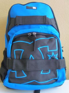 NWT DC Shoes Graphic Logo Multi Function Laptop Backpack Black / Blue