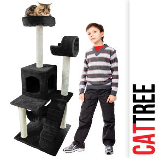 Black Deluxe 50 Cat Tower Tree with Condo Scratcher Furniture Kitten