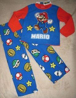 NINTENDO Super MARIO w/Stars* 2pc Fleece Blanket Pajamas Pjs sz 8