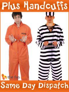 PRISONER CONVICT JUMPSUIT HANDCUFFS PRISON BREAK BOILER SUIT FANCY