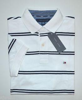 NWT Mens Tommy Hilfiger Short Sleeve Polo Shirt White / Blue XXL, 2XL