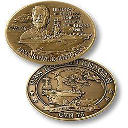 uss ronald reagan cvn 76 bronze oval coin time left