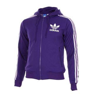 Adidas Originals Hooded Flock Track Top Jacket LARGE L PURPLE (White