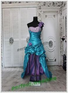 Stock Blue one shoulder Wedding Dress Bridal Gown Prom Quinceanera