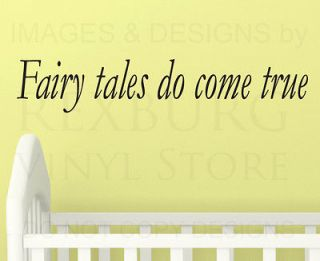 Wall Decal Sticker Quote Vinyl Art Fairy Tales Come True Baby Girls