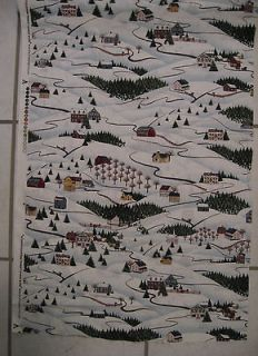 Yard Winter Snow Scene All Over Fabric Sewing Quilting Quilt