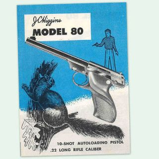 JC HIGGINS MODEL 80 SEMI AUTO PISTOL OWNERS PARTS GUN MANUAL