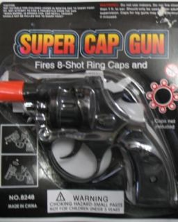 SUPER CAP GUN Toy Pistol Snub Nose Revolver ~ Fires 8 shot Ring Caps