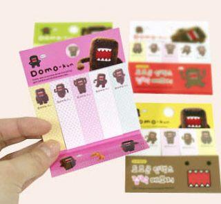 packs of domo kun mini size post it from south korea