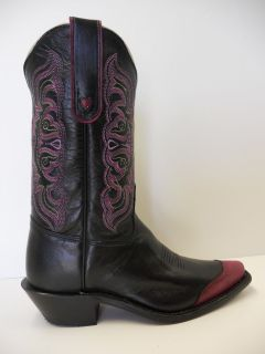 NIB Womens Tony Lama H2090L Western Black Purple Pink Wing Tip Cowboy