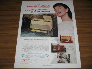 1957 Vintage Ad Grundig Majestic Debutante AM FM Short Wave Phonograph