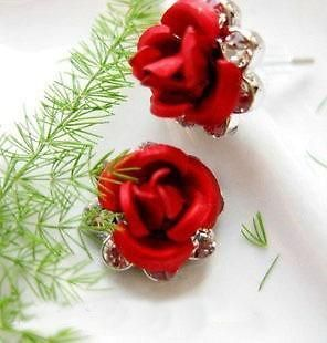 18k gold gp swarovski crystal red rose earrings a29 from