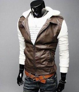 new mens stylish slim fit pu leather coat jackets hoodies