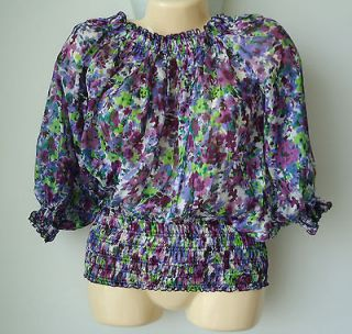 Basic Womens Size M Medium Sheer Silk Floral Smocked Blouse Top Shirt