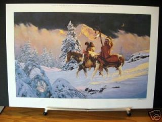 New Moon Chuck Ren Horses Western Native American Art Limited Edition