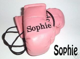 baby pink mini boxing gloves printed with girls names time