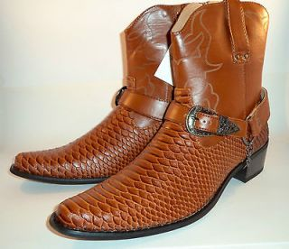 Mens Leather Italian snake skin pattern Brown cowboy boots in size 7,9