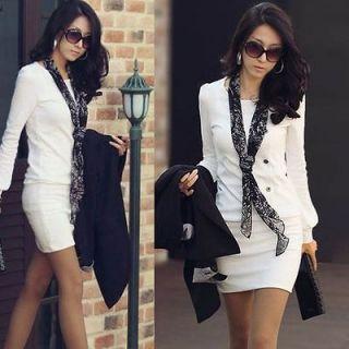 White Korean Fashion office  lady round neck long Sleeve Mini Dress
