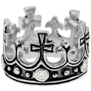 Silver Royal Queen Princess Crown Tiara CZ Black Enamel Ring Size 6