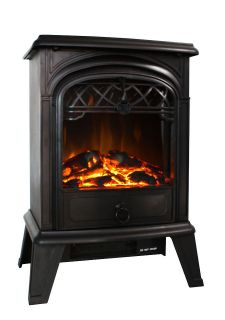 Standing Electric 1500W Fireplace Heater Fire Stove Flame Wood Log