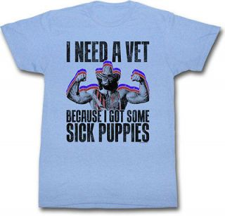 macho man randy savage sick puppies heather blue t shirt