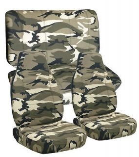JEEP WRANGLER YJ SEAT COVERS IN CAMO #13 FRONT AND REAR choose color