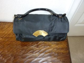 VINTAGE Karl Largerfeld Small Black Satin Barrel Shaped Handbag/Purse