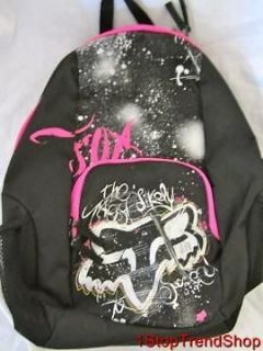 NWT Fox Racing Co girls logo backpack black silver book bag MSRP $40