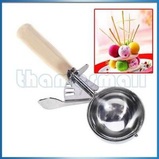 Stainless Steel Ice Cream Scoop Cookies Dough Disher Spoon for Bar