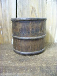Primitive Antique Small 5 x 5 Wood Wooden BUCKET Rice Grain Scoop