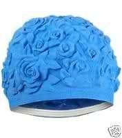 floral emboss vintage sty latex swim cap blue