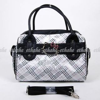 Hello Kitty Girl Checkered Patterns Plaids Handbag Tote Hand Messenger