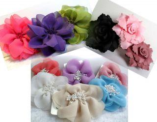 Chiffon Bead Satin FABRIC FLOWER Hair Accessory Clip Grip Slide COLOUR