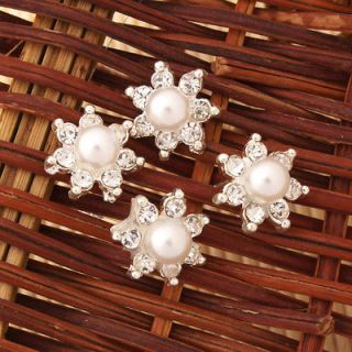 20 x Rhinestone Seven pointed Star Pearl Hair Pins Charming Hairpins