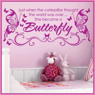 She Became a BUTTERFLY *** Vinyl Wall Decor Mural Quote Decal