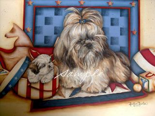 Print of Painting Shih Tzu w/ Puppy Signed by Barbara Butler