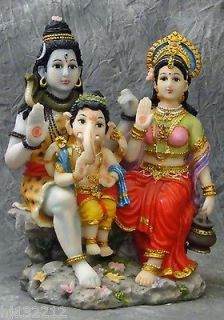 Colorful Hindu Statue of Seated Shiva, Ganesh, and Parvati as Hindu