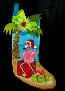 Christmas Stocking NWT Santa Hat Gifts Palm Tree Coconuts Lights