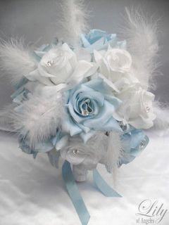 17pcs Wedding Bridal Bouquet Flowers BABY BLUE WHITE Silk Boutonniere