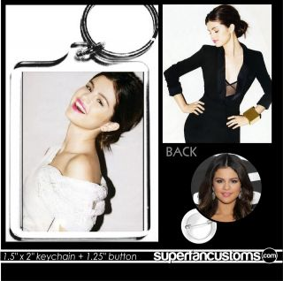 Selena Gomez KEYCHAIN + BUTTON or MAGNET pin badge justin bieber key