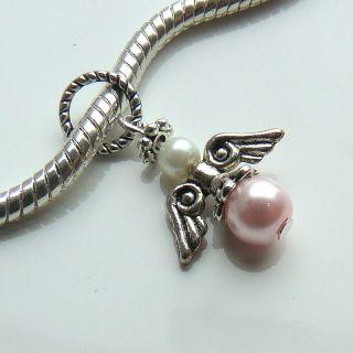 Pearl Guardian Angel Wings charm bead for fits european bracelet or