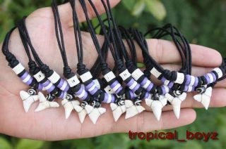 10 Shark Tooth Sharks Teeth with Purple Wood Bone Beads Necklaces