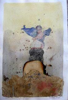 BERNARD BERTHOIS RIGAL Original Watercolor 4 Signed   Unique