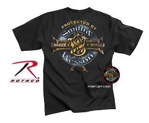 SMITH & WESSON PROTECTED BY HEAVY METAL T SHIRT OFFICIALLY LICENSED
