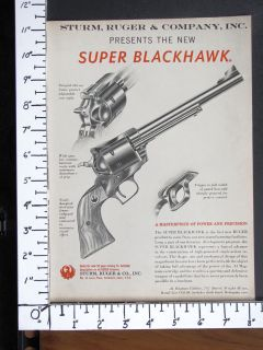 1959 RUGER debut New 44 Magnum SUPER BLACKHAWK Revolver magazine Ad