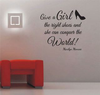 MARILYN MONROE Give a Girl Right Shoes Conquer World Vinyl Wall Decal