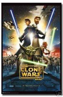 STAR WARS MOVIE POSTER The Clone Wars Movie Sheet RARE   PRINT IMAGE