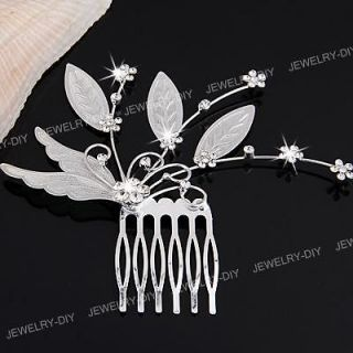 Silver Plated Crystal Flower Leaf Bridal Tiara Headpiece Hair Comb Pin