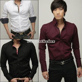 mens casual slim fit stylish dress shirts 3 color new