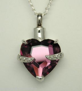 CZ PURPLE HEART CREMATION URN NECKLACE STAINLESS JEWELRY PET URN